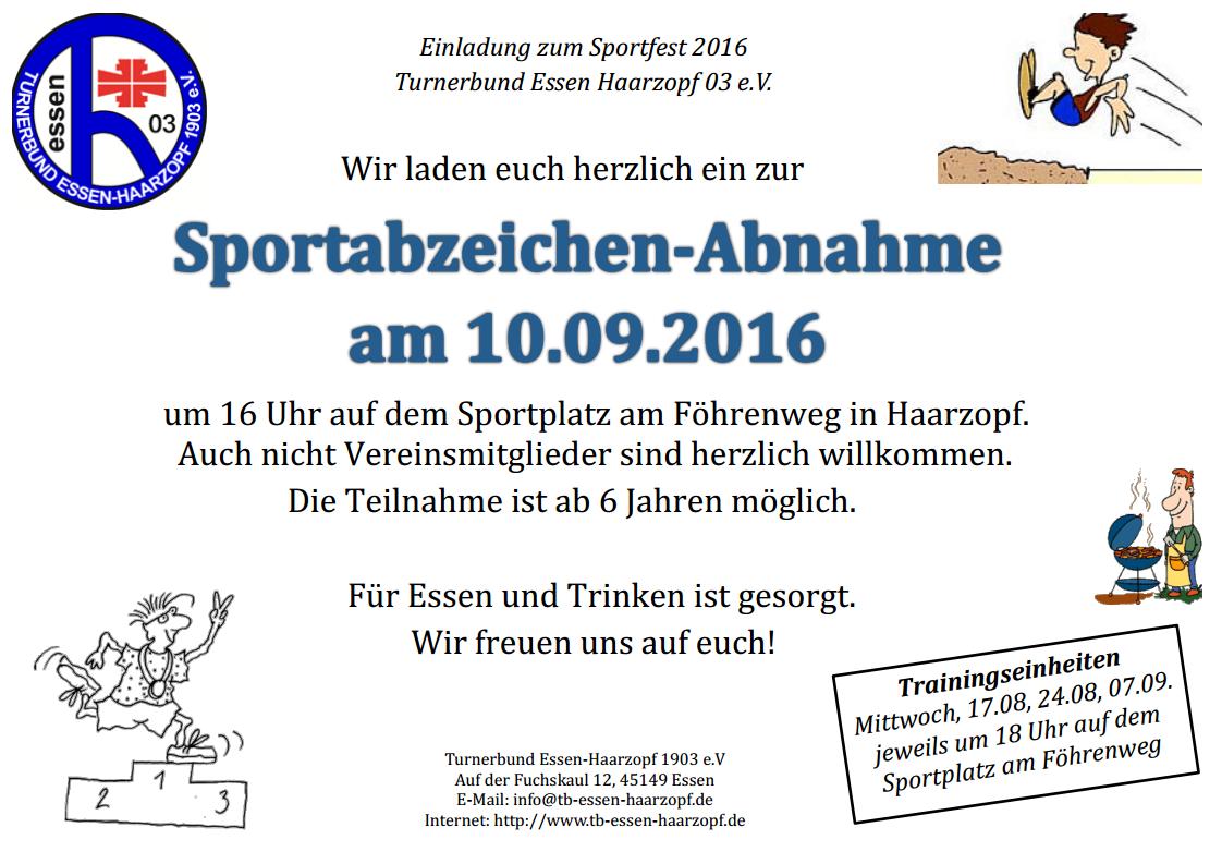 Einladung Sportfest 2016